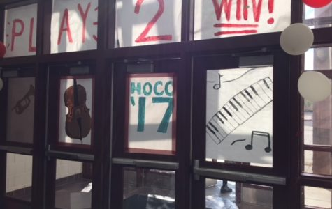 An image taken of the Chapin Homecoming decorations in the Fine Arts Building.