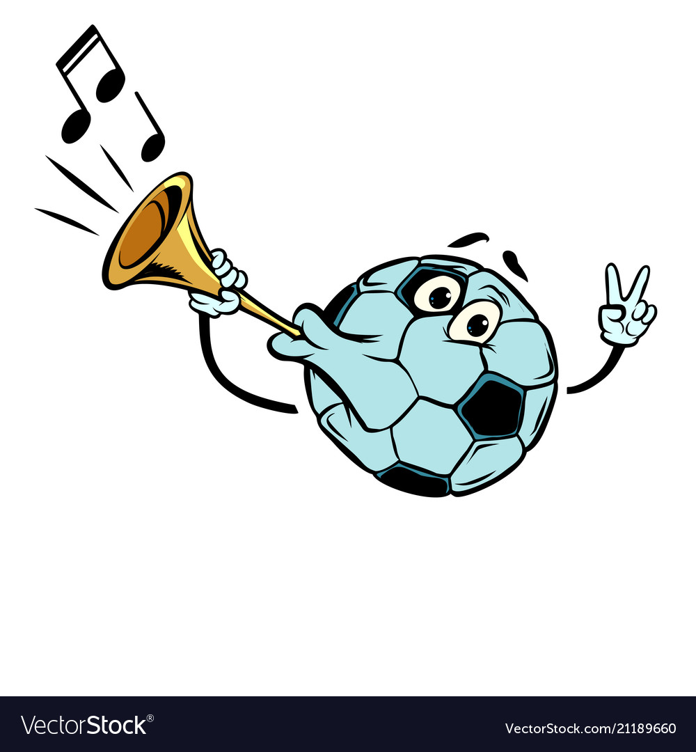 Fan horn, loud sound. Character soccer ball football. Isolate on white background. Comic cartoon pop art retro illustration vector drawing