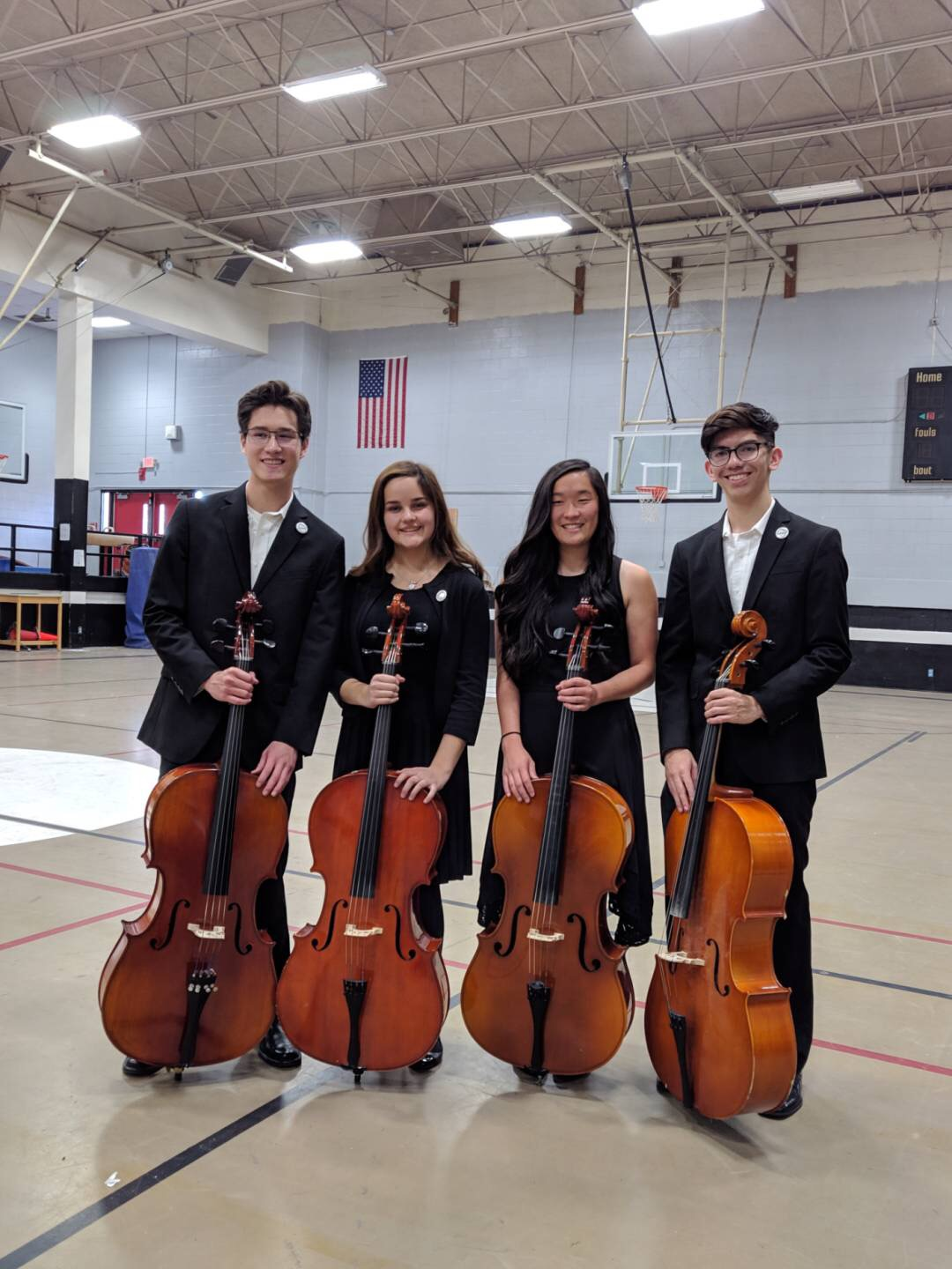 Cello Quartet  From left to right (David Santacruz, Alexa Oaxaca, Kiara Kwan, and Carson Aliyas)